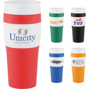 Custom Printed 1 Day Service 16oz. Clear Plastic Shell Travel Mugs