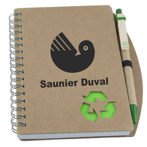 1 Day Service Recycled Notebooks with Pen Loops, Custom Imprinted With Your Logo!