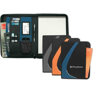 Custom Printed 1 Day Service Zippered Portfolio Writing Pads