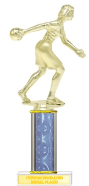Custom Printed Female Bowler Bowling Trophies