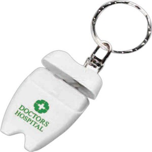 Custom Printed 3 Day Service Tooth Shaped Dental Floss Keychains
