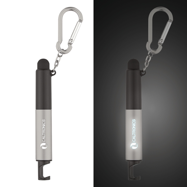 4-in-1 pen with a stylus, light, phone holder, light-up pen, and carabiner attachment, Custom Imprinted With Your Logo!