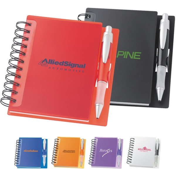 Custom Printed 1 Day Service Spiral Notebook and Pen Lanyard Gift Sets