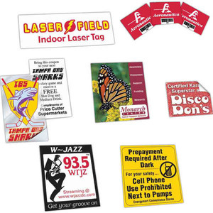 Decals and Stickers from 92 to 114 Square Inches, Custom Printed With Your Logo!
