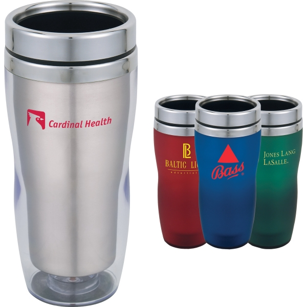 Custom Printed 1 Day Service Stainless Steel 16oz. Travel Tumblers