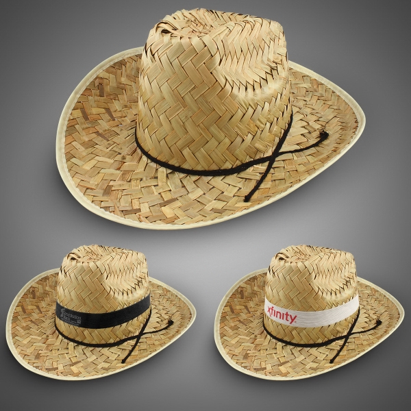 Wide Brim Cattleman Cowboy Hats, Custom Decorated With Your Logo!