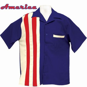 Custom Printed American US Flag Bowling Shirts