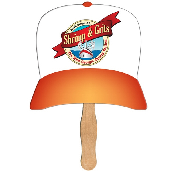 Custom Printed Baseball Cap Stock Shaped Paper Fans