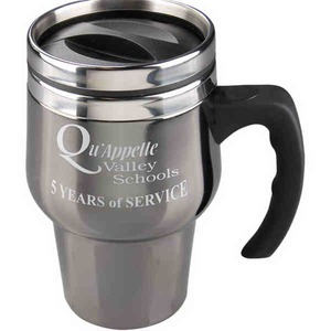 Custom Printed Black Chrome Stainless Steel Spill Resistant Travel Mugs