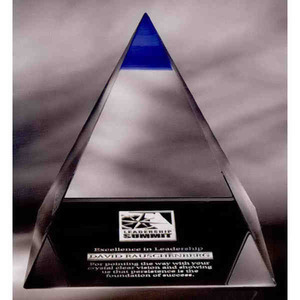 Custom Printed Blue Majestic High End Crystal Awards