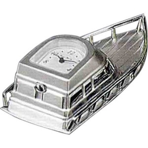 Custom Printed Boat Shaped Silver Metal Clocks
