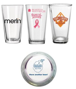 Custom Printed Glass Bottom Imprint Pint Glasses
