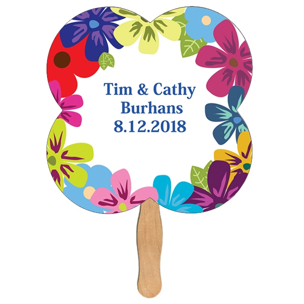 Custom Printed Clover Stock Shaped Paper Fans