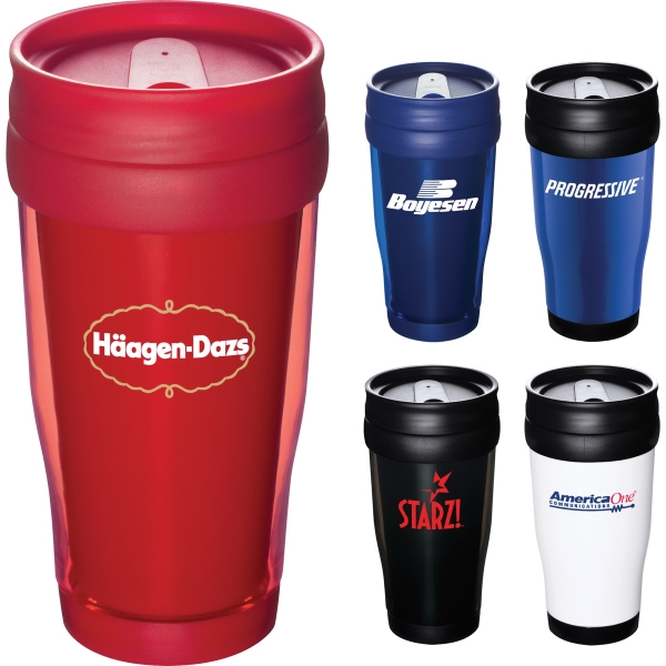16oz. Double Wall Coffee Travel Mugs, Custom Designed With Your Logo!