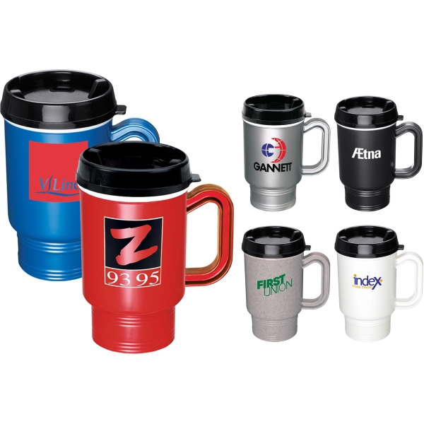 Custom Printed 1 Day Service Travel Mugs with Thumb Slides