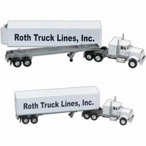 Custom Printed Die Cast Conventional Sleeper Semis with Trailers