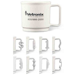 Custom Printed Dollar Sign Shaped Handle Stackable Mugs