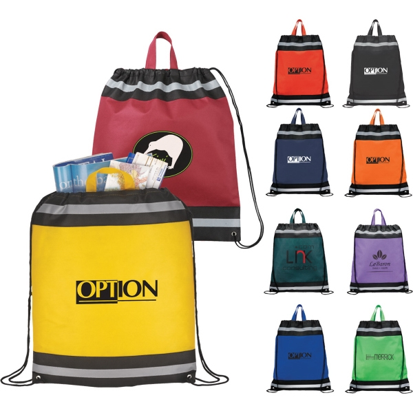 Custom Printed 1 Day Service Heavy Duty Drawstring Backpacks