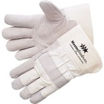 Custom Printed Economy Grade Cowhide Leather Palm Gloves