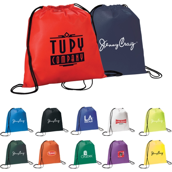 Custom Printed 1 Day Service Non Woven Drawstring Backpacks