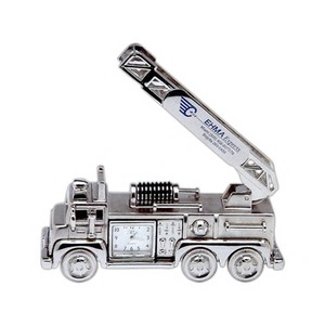 Custom Printed Firetruck Shaped Silver Metal Clocks