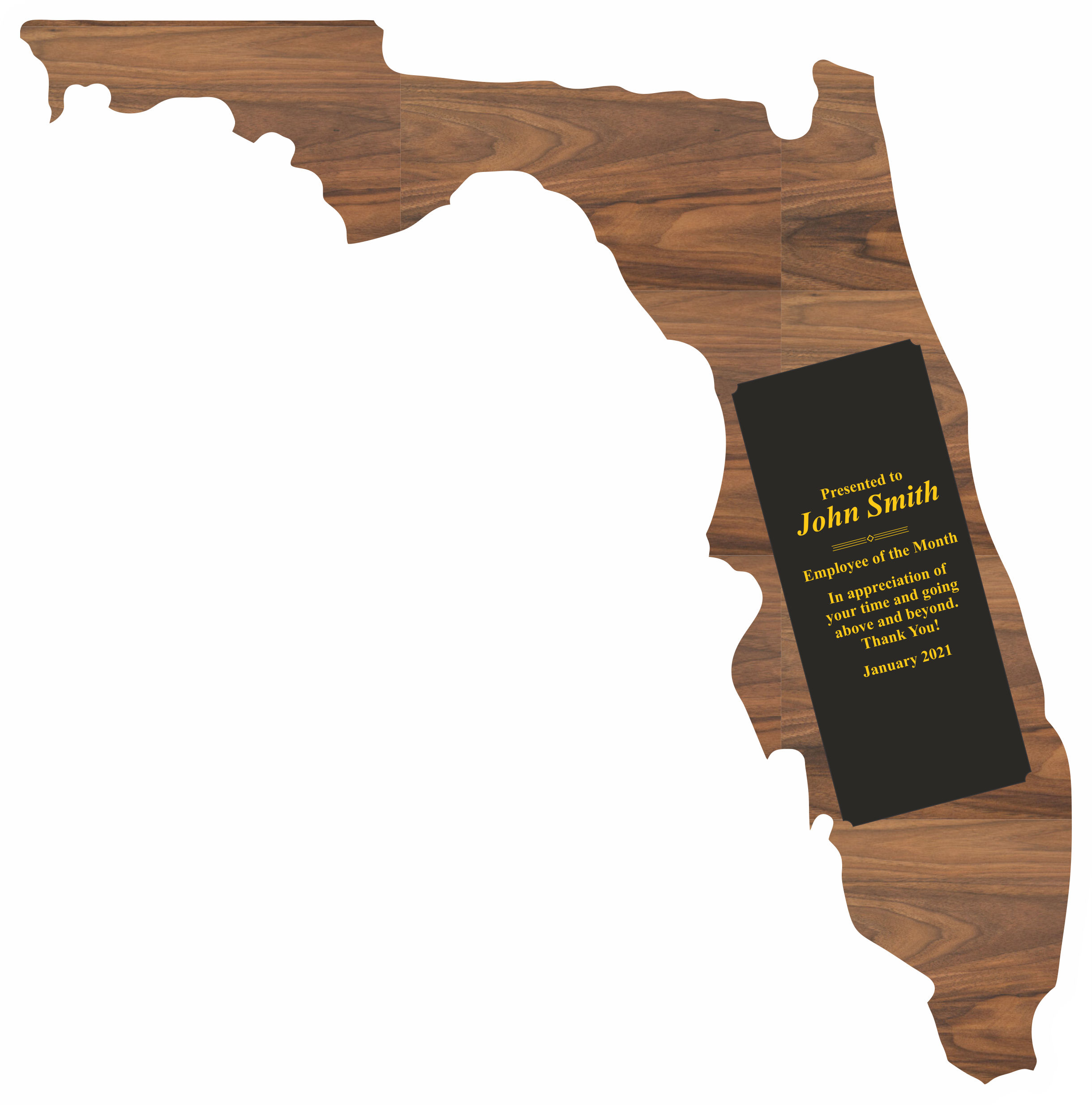 Custom Printed Florida State Shaped Plaques