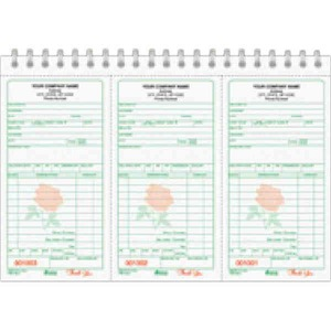 Custom Printed Florist Sales Receipt Books