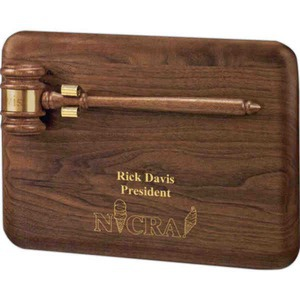 Custom Printed Gavel Plaques with Deluxe Walnut Gavels