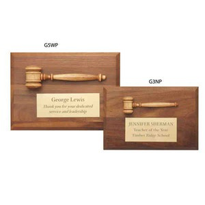 Custom Printed Gavel Plaques with Miniature Walnut Gavels