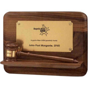 Custom Printed Gavel Plaques with Pedestal Bases