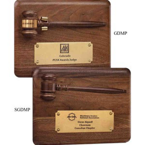 Custom Printed Gavel Plaques With Walnut Gavels