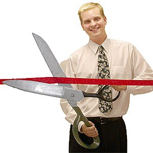 Giant ceremonial scissors custom imprinted with your logo for Big scissors for gardening