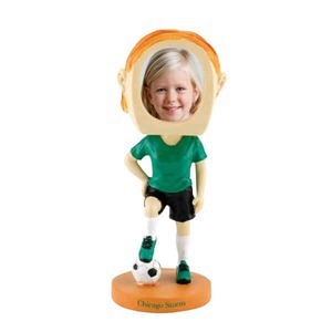 Custom Printed Girls Soccer Player Bobble Head Picture Frames
