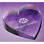 Custom Imprinted Glass Heart Paperweights