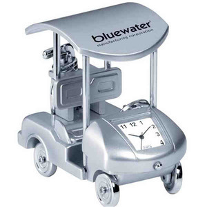 Custom Printed Golf Cart Shaped Silver Metal Clocks