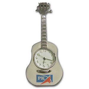 Custom Printed Guitar Shaped Silver Metal Clocks