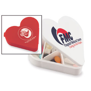 Custom Printed Heart Shaped Pill Boxes