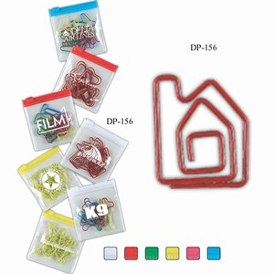Custom Printed House Bent Shaped Paperclips in Zip Pouches