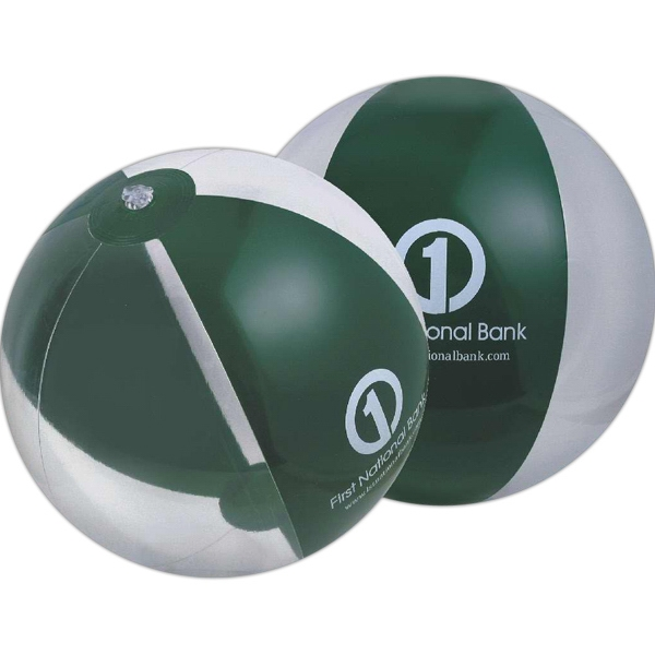 Custom Printed Forest Green and Clear Alternating Color Translucent Beach Balls