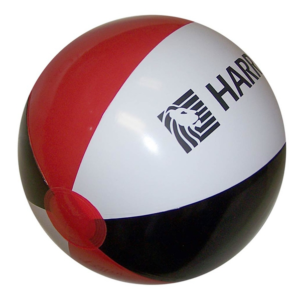 Custom Printed Red Black and White Alternating Color Beach Balls