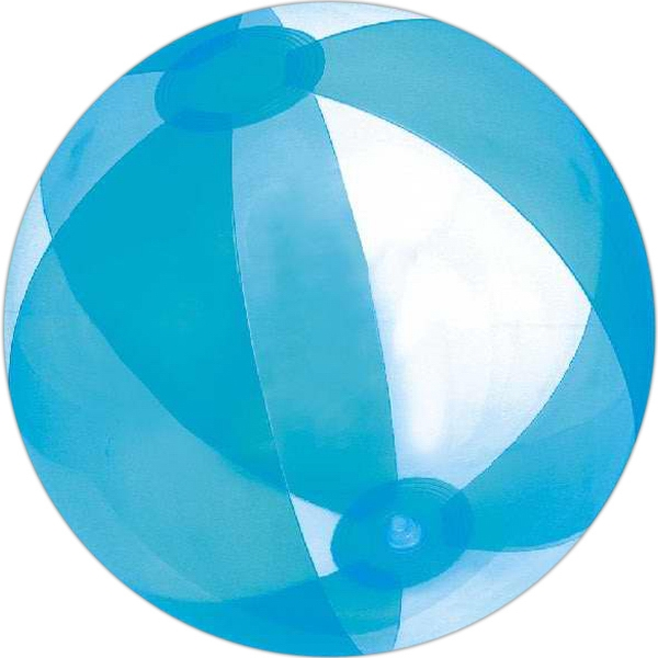 Custom Printed Blue and Clear Alternating Color Translucent Beach Balls