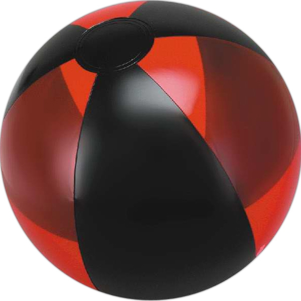 Custom Printed Red and Black Alternating Color Translucent Beach Balls