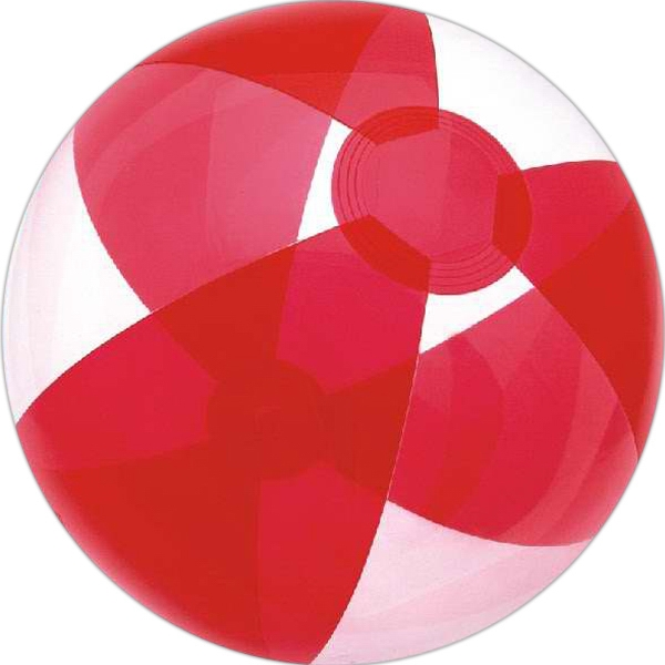 Custom Printed Red and Clear Alternating Color Translucent Beach Balls