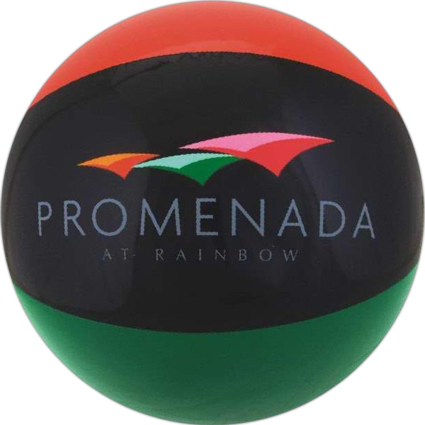 Custom Printed Burnt Red Black and Green Alternating Color Beach Balls