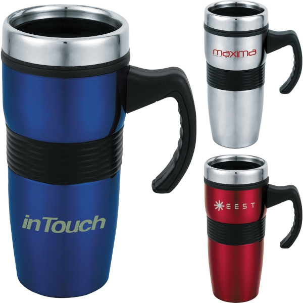 Custom Printed 1 Day Service Plastic Lined Travel Mugs