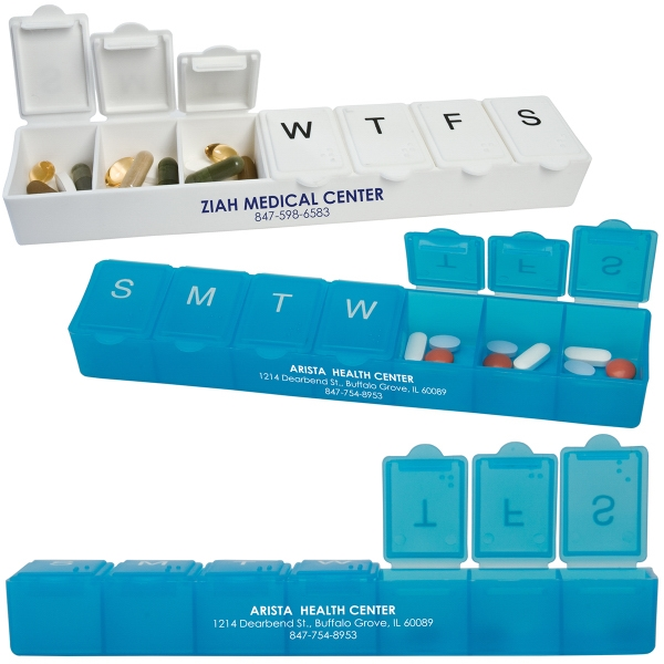 3 Day Service Jumbo Pill Holders, Custom Designed With Your Logo!