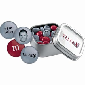 Custom Printed M&M Chocolate Candy Silver Tins
