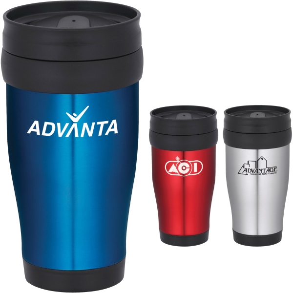 Custom Printed 1 Day Service Blue and Red Travel Mugs
