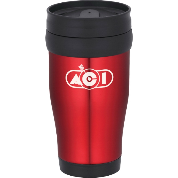 1 Day Service Blue and Red Travel Mugs, Custom Designed With Your Logo!