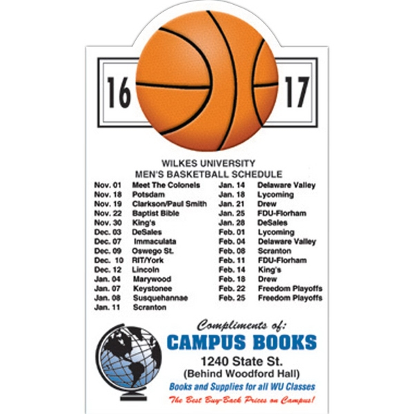 Custom Printed Canadian Manufactured Basketball Sport Schedule Magnets